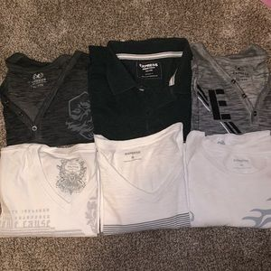 6 Express Shirts- 5 graphic tees and 1 Polo